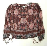 LUCKY BRAND Womens Red & Blue 3/4 Sleeve BOHO Style Top Size XS