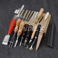 Set of 18 Craft Leather Punch Tools kit Stitching Carving Sewing Saddle Groover