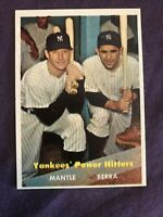Yankees' Power Hitters 1957 Topps No. 407 Mantle - Berra