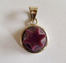 Corundum Ruby Pendant Sterling Silver Genuine Carved