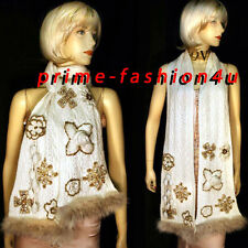 Oscar De La Renta Ivory Color Cashmere Cable Knit Real FurJewelled  Scarf