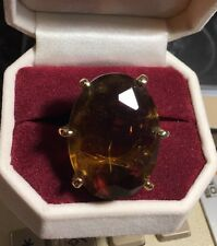 Vintage Goldtone And Amber Colored Stone Statement Ring