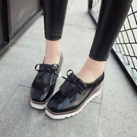 Womens Shoes Square Toe Tassels Fringe Platform Wedge Heels Creeper Casual Shoes