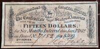 A Civil War, $15 Interest receipt, from a 1864 Confederate $500 Bond, *Super*