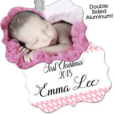 Baby's First Christmas Ornament - Baby Girl Pink Personalized Customized