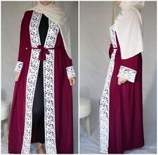Red Kimono Abaya lace front open Hijab Dubai Eid Jilbab Kaftan Maxi Dress S~2XL