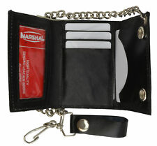 Genuine Leather Mens Black Trifold ID Wallet with Chain Biker Trucker Motorcycle