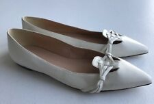 $158 NEW JCrew Harper Knotted Flats Womens 8.5 Fresh Cream White Leather Shoes