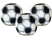 Soccer crocheted knitted footbag hacky sack - Pack of THREE
