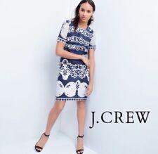 J Crew Shift Dress In Ornate Lace Size 12 Blue White Short Sleeve
