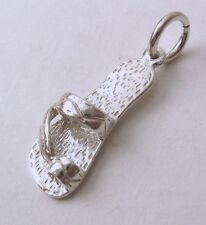 GENUINE SOLID 925 STERLING SILVER 3D THONG BEACH SHOE Charm/Pendant