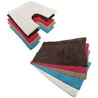 New Cotton 2 Piece Bath Mat And Pedestal Non Slip Washable Set 9 Colours