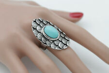 Jewelry Elastic Band Turquoise Blue Bead Women Silver Metal Ring Ethnic Fashion