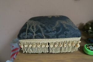 "Foot Stool Brown Metal Legs Lion Giraffe Elephant Tapestry Fabric 13"" x 15"""