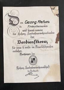 Originale Urkunde Feuerwehr Verdienstkreuz- Hohenzollern Sigmaringen Hechingen