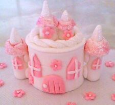 STUNNING PINK/WHITE  EDIBLE CASTLE WITH FLOWERS sugar cake topper decoration