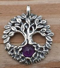 Celtic Tree of Life Pendant .925 Sterling Silver Yggdrasil w/ Genuine Amethyst