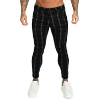 GINGTTO Men Skinny Fit Stretch Chino Trousers Casual Flat Front Black Plaid Pant