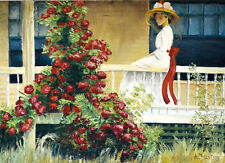 LADY ON PORCH oil on canvas (55x75cm) reference THE CRIMSON RAMBLE by P. L. Hale