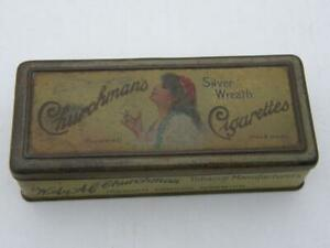 EARLY CHURCHMANS PICTORIAL LADY SMOKING SILVER WREATH CIGARETTES TIN HAND MADE