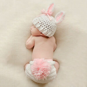 Baby Girls Boys Newborn Crochet Knit Costume Photography Prop Outfit Cute Rabbit