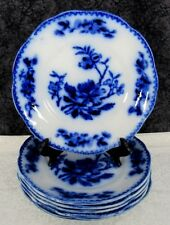 (6) Antique Staffordshire Pekin Flow Blue China Ironstone Salad Plates