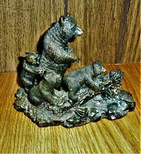 Mother Bear And Cubs Rustic Sculpture Vintage