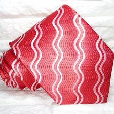 Jacquard rossa oned bianche Cravatta Nuova seta Made in Italy handmade Morgana