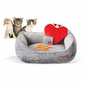 K&H PET PRODUCTS Mother's Heartbeat Heated Cat Bed with Heart Pillow Heartbea...