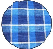 "$60 ALEXANDER OLCH Blue & White Plaid Cotton Pocket Round 11"" USA NWT"