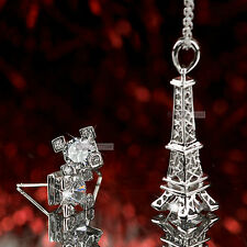 18k white gold gf made with Swarovski crystal Eiffel tower stud necklace set