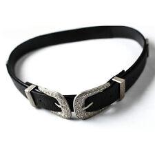 Women Retro Waist Belt Black Leather Waistband Double Metal Buckle Waist Belt