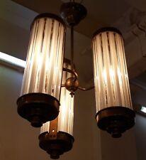 VINTAGE ART DECO BRASS & MILK GLASS ROD CEILING FIXTURE CHANDELIER LIGHT LAMP