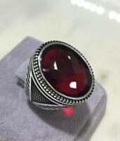 925 Sterling Silver Handmade Gemstone Turkish Ruby Men's Ring Size 9-13