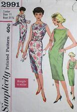 Vtg 1950s Simplicity 2991 Shaped Belt Slim Dress Sewing PATTERN Junior 11