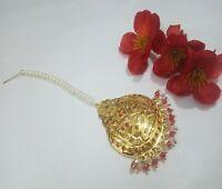Indian CZ Jadau Tikka Pakistani Pearls Head Piece Gold Plated Wedding Jewellery