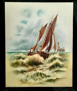 Antique Maritime Oil on Canvas Painting Fisherman Sail Boat at Sea Circa 1890's