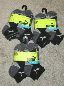 ~~18 Pairs~~ PUMA Boys Dry Cell Quarter Crew Socks Black 7-8.5