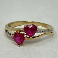 10k Yellow Gold Synthetic Pinkish Red Stones Hearts Ring Size 7.75 FWS
