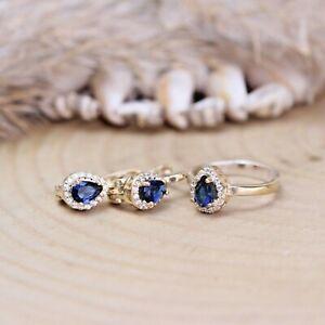 Turkish Handmade Sapphire Silver 925 Set Earring Ring 6-12
