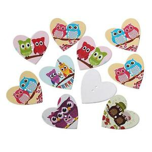 50pcs Heart-shaped Owl pattern Wooden Sewing Buttons Scrapbooking 25mm