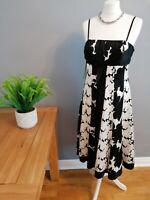 Stunning Monsoon 100% Silk Occasion Dress Black & White UK 12 Fully Lined BNWT