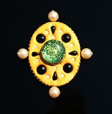 Gold tone faux pearl dicroic green glass maltese cross BROOCH