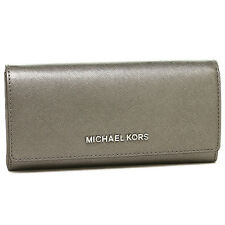 Michael Kors Jet Set Travel Carryall Leather Wallet - Nickel - 35H6MYAE7M