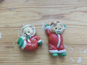 Novelty christmas bear fridge magnet bear themed x2