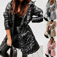 ⭐Women Winter Warm Long Overcoat Quilted Padded Puffer Bubble Hooded Coat Jacket
