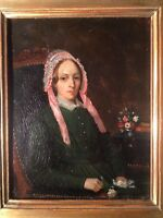 19th Century French School Oil Painting Lady Portrait Victor MOTTEZ (1809-1897)