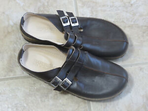 Haflinger Germany Women's 10 Brown Leather Double Strap Clogs Mules NEW Size 41