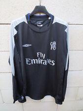 VINTAGE Maillot CHELSEA 2004 2005 UMBRO shirt football away XL long sleeve noir