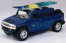 Diecast 1:40 Hummer H2 SUT 2005 with surf board in blue